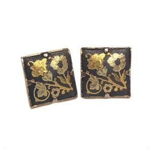 Damascene Toledoware Earrings Pierced Post Square